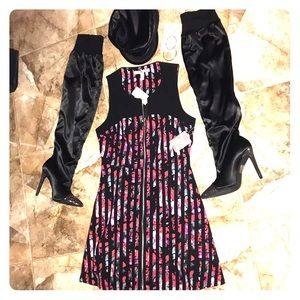 NWT Black, Red, Gray & White front zip dress